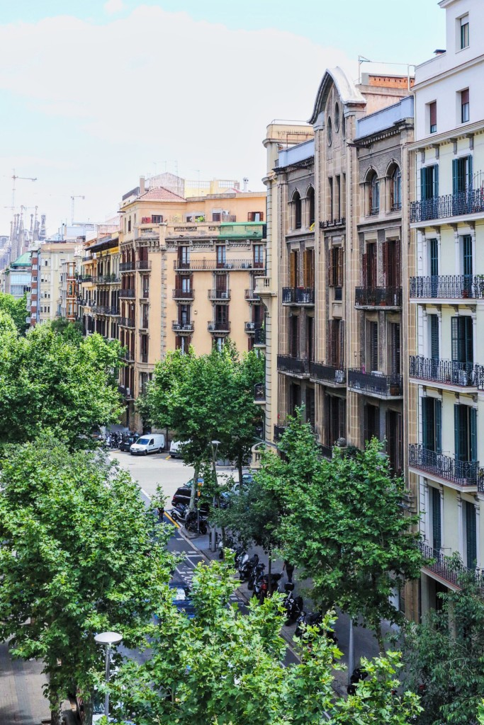 If you look carefully in the background of this bedroom balcony view, you'll spot Barcelona's pride and joy - the Sagrada Familia.